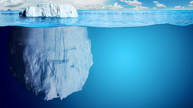 Underwater view of iceberg with beautiful polar sea on background - illustration.