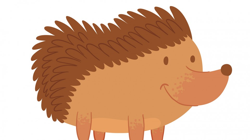 Vector cartoon image of a cute brown hedgehog with spines, standing on four paws and smiling on a white background. Funny forest hedgehog. Vector illustration.